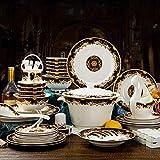 AYHa Juego de vajilla Bone China 46 piezas de Royal Feast Bone China Vajilla de porcelana china