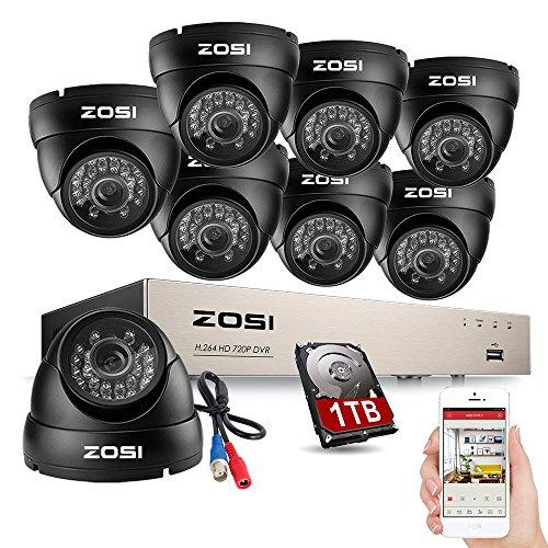 ZOSI 8 Canal CCTV Sistema de Vigilancia Nocturna Diurna Outdoor 720P Vídeo Cámara de Seguridad con 8CH 1080N DVR Grabadora 1TB HDD, Sistema de Seguridad para Hogar