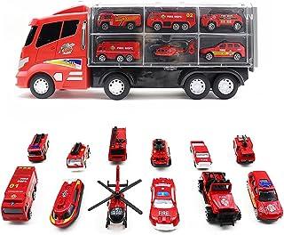 13 Pcs Fire Truck Toys Firetruck Cars Set Firefighter Trucks Engine Patrol Rescue Diecast Car Fireman Vehicles Helicopter ...