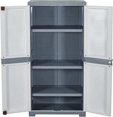 Cello Novelty Big Plastic Cupboard with 3 Shelves (White and Grey)