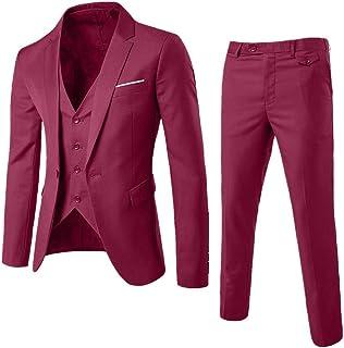 DAY8 Abito Cerimonia Uomo 3 Pezzi per Matrimonio Affari Festa Slim Fit Elegante Vestito Uomo Cappotto Giacca Blazer + Gile...