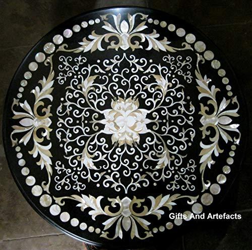 Gifts and Artefakte Konferenztisch/Konferenztisch, Marmor, rund, Perlmutt, 107 cm, Schwarz