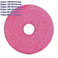 5 個品質砥石ディスク 145/105 /90 ミリメートル、厚さ 3.2 / 4.8 ミリメートルチェーンソー歯シャープ研磨石径グラインダー-F 5pcs 98x10x4.8mm