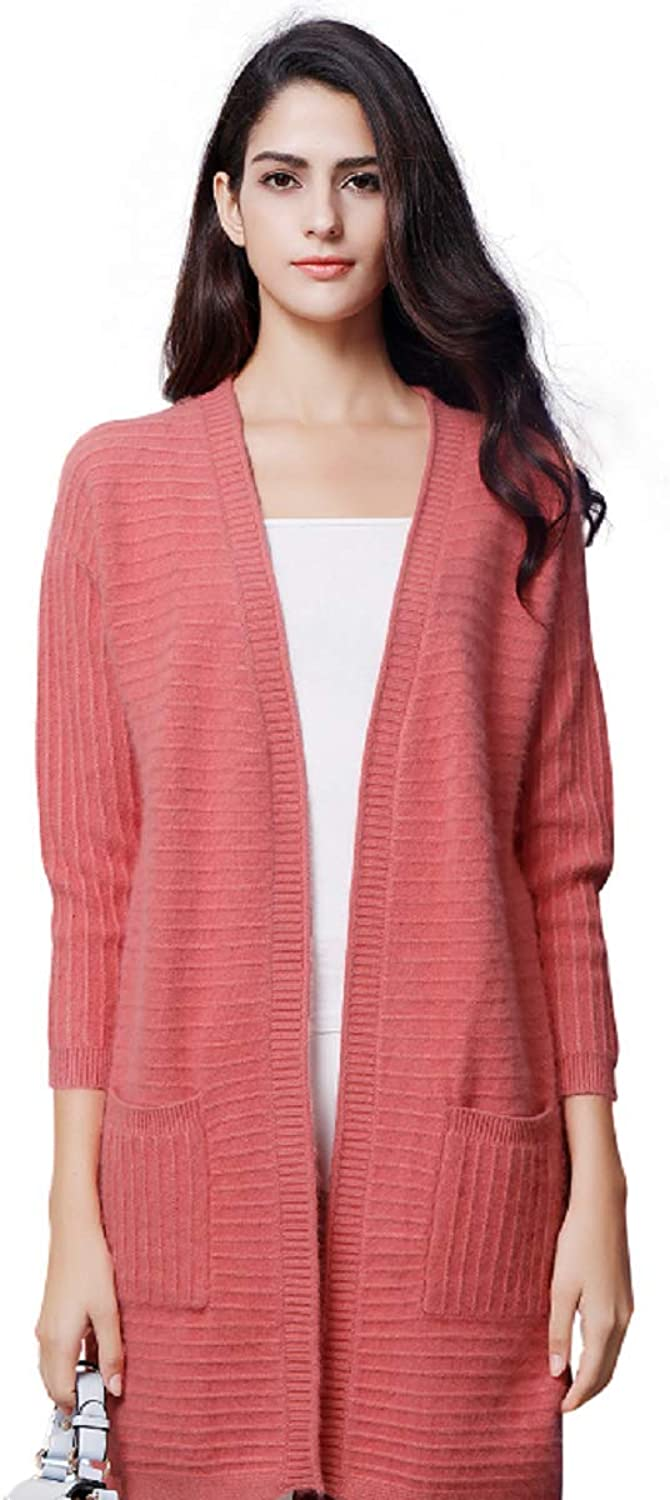 Zhili Women's Open Front Cardigan Red Cashmere Sweater