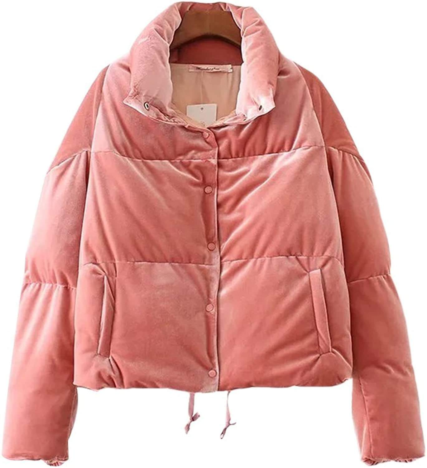 HIENAJ Women's Puffer Down Outwear Coats Quilted Front Pressed Button Coat with Pockets