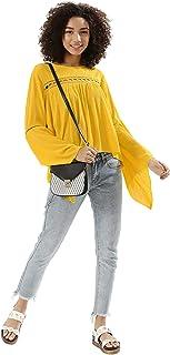 Koovs Yellow Round Neck Blouse For Women