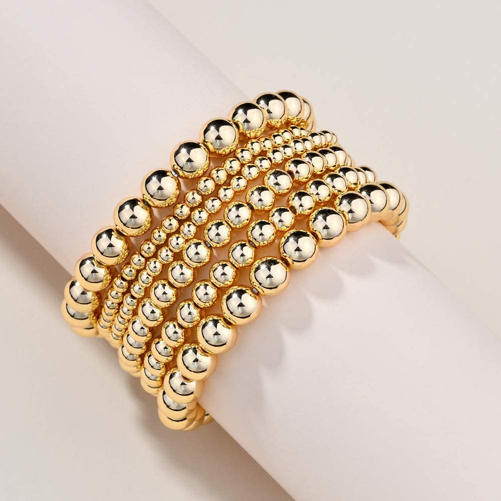 COLORFUL BLING 6Pcs 14K Gold Beaded Bracelet for Women Stackable Layering Elastic Stretch Strand Ball Bracelets Bangle Cuff Jewelry Wrist Accessories Gifts