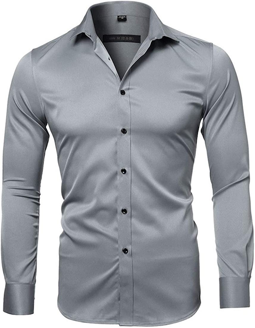 Cicilin Men's Dress Shirts Slim Fit Long Sleeve Bamboo Formal Shirt Button Down