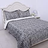 Shop LC Delivering Joy Homesmart Silver Satin Sherpa Leopard Digital Printed Comforter Size Queen with 2 Shams Wrinkle Winter Warm Cozy Super Soft Fabric Luxurious Bedspread Bedding Set
