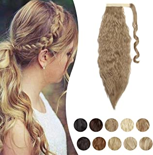 Corn Wave Wrap Around Ponytail Synthetic Hair Extensions Magic Paste Clip in on Wavy Pony Tail with Little Pocket for Wome...