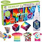 26 Colours Tie Dye Kits, Caloyee Permanent One Step Tie Dye Set for Craft Arts Fabric Textile Party DIY Handmade Project, Non-Toxic Tie Dye Supplies