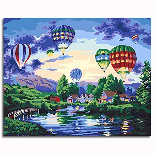 globo aerostático Pintura por número Kits Pintura Pinturas-16x20 inch (40x50cm)Sin marco