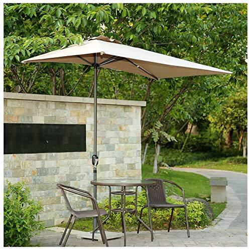 Parasol Mezzo ombrellone Rettangolare da Esterno, Ombrellone da Giardino Pieghevole Ombrellone 250 × 130 cm con manovella per Giardino/Balcone/Tenda a baldacchino
