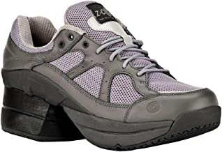 Z-CoiL Pain Relief Footwear Men's Liberty Slip Resistant Enclosed Coil Gray Leather Tennis Shoe
