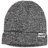 NEFF mens Fold Heather Beanie Hat, Black/White, One Size US