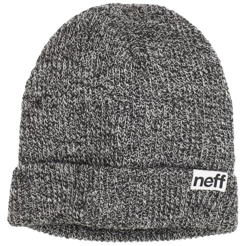 NEFF mens Fold Heather Beanie Hat, Black/White, One Size US