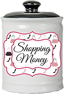 Cottage Creek Piggy Bank, Shopping Fund Coin Bank, Round Ceramic Shopping Money Jar with Black Lid [White]