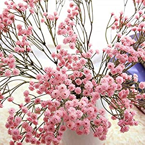 6pcs/Pack Baby's Breath Artificial Flowers Gypsophila Real Touch Flowers for Wedding Party Home Garden Decoration DIY Gift (Pink)