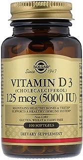 فيتامين د3 (كوليكالسيفيرول) من سولغار - 5000 وحدة دولية - 100 كبسولة هلامية لينة