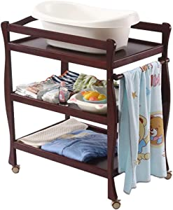 YEMOPDB Baby Diaper Changing Table-Wooden Baby Changing Table Unit Station Newborn Supplies Storage Rack Three-layer Newborn Storage Rack Baby Changer Bed Roller Dressing Table