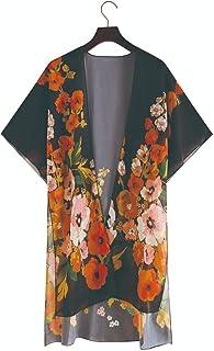 VEMOW Mujer Gasa Chal Impresión Cárdigan Floral Boho Verano Cubrir Blusa Ropa de Playa, Cárdigan Kimono Florales Manga 1/2...