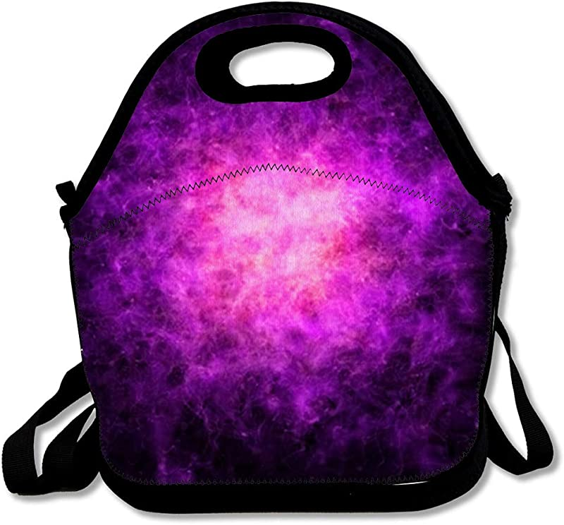 Insulated Lunch Bag Abstract Smoke Confluence Magenta Particles Purple Particle Mist Black Energy Fog Violet Design Reusable Lunch Tote For Work And School
