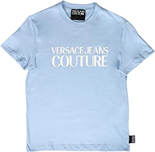 Jeans Couture Light Blue 100% Cotton Oversized Logo Short Sleeve T-Shirt- for Mens