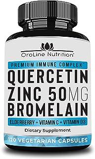 Quercetin 500mg with Bromelain, Zinc 50mg, Vitamin C, Vitamin D3 & Elderberry, A Potent Immunity Booster Zinc Quercetin Su...