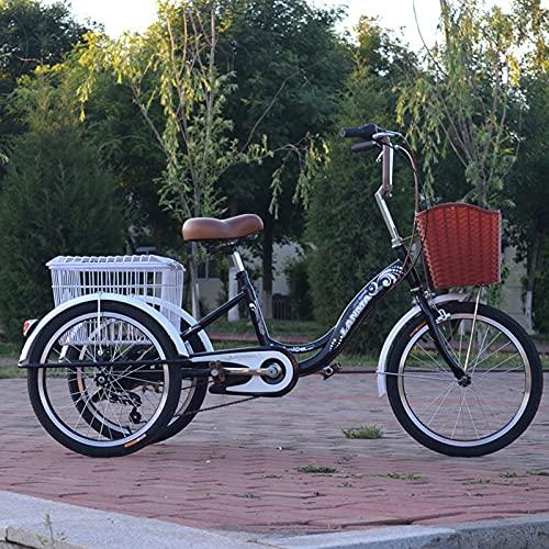 Triciclo para adultos bicicleta Triciclos Adultos 3 Bicicletas De Ruedas Marco De Acero Altamente Carbono Tres Ruedas Crucero Bicicleta Para Recreación, Compras, Picnics Ejercicio De Muje(Color:Negro)