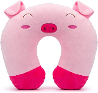 GLAUCUS Kids Travel Pillow Animal Neck Pillow Support U Shaped Cushion Plush for Airplane Train Child's Neck Pillow for Kids Adult(Pink Pig)