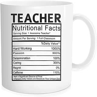 Hasdon-Hill Funny Coffee Mug for Men Women Teacher Nutritional Facts Coffee Tea Cup Cute Mugs Novelty Gift for Friends Birthday Festival Christmas 11 oz Bone China White