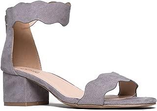 J. Adams Suede Open Toe Ankle Strap Sandal - Trendy Kitten Heel Shoe - Low Block Formal Heel - Mimi