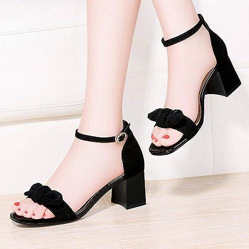LTN Ltd - sandals Un Mot avec des Sandales, Femme Rugueuse, Fée, été, Petit, Clair, Petit CK Chaussures Femme, Noir, 39
