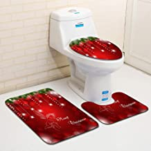 Hzjundasi Xmas Style Flannel Commode Tolilet Lid Cover Bath Carpet Pedestal Pad - 3 Piece Set Santa Claus Pattern Non Slip...