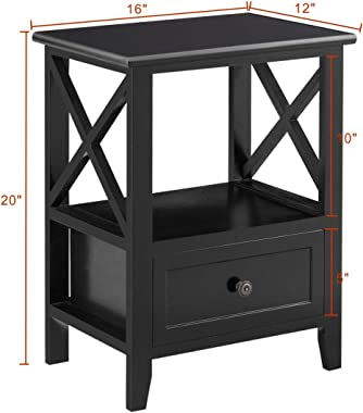 """Giantex Nightstand Set of 2 Small End Tables W/Storage Shelf and Wooden Drawer 16""""×12""""×20"""" for Living Room Bedroom Bedside Accent Home Furniture Mini Side Table(Black)"""