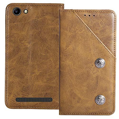 YLYT Flip Braun Schutz Hülle Hülle Für Archos 40 Power 4 inch Etui Leder Tasche Handyhülle Hochwertiges Stoßfeste Kartenfach Cover