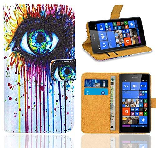 FoneExpert® Microsoft Lumia 535 Handy Tasche, Wallet Hülle Flip Cover Hüllen Etui Ledertasche Lederhülle Premium Schutzhülle für Microsoft Lumia 535 (Pattern 10)