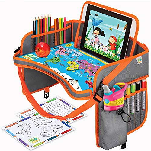 US Kids Travel Car Seat Tray - Toddlers Carseat Tray Organizer - Large Tablet & Cup Holder - Waterproof Food & Snack Lap Tray - Road Trip Activities for Kids - Travel Games for Kids in Airplane