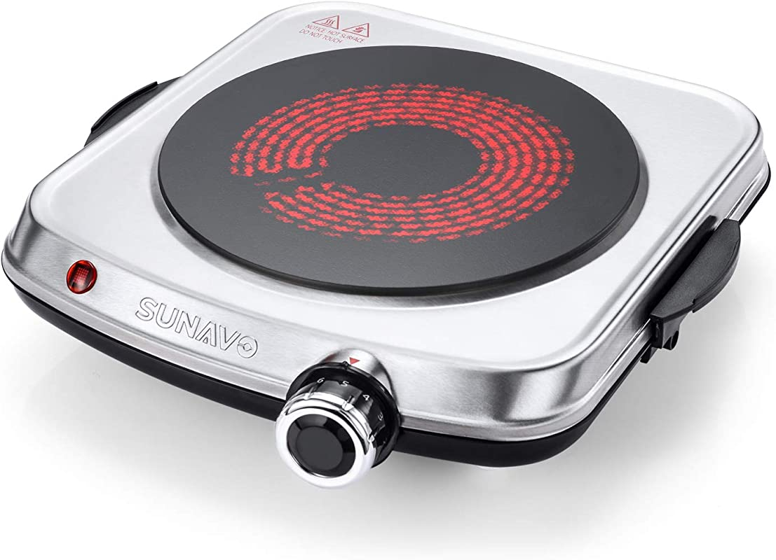 SUNAVO Electric Infrared Burner Ceramic Single Hot Plate Portable Stainless Steel Cooktop