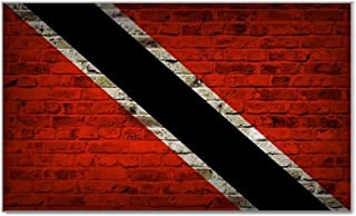 Trinidad And Tobago Flag Brick Wall Design Rectangular Magnet - Great for Indoors or Outdoors on Vehicles