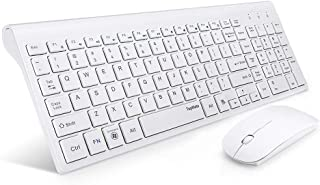 TopMate Wireless Keyboard and Mouse Combo   Ultra Slim Keyboard with Mute Mice   Designed for Office and Home Use Softly   White