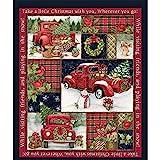 Detrade Weihnachten Stoff Roter LKW Collage Geschenk Spaß