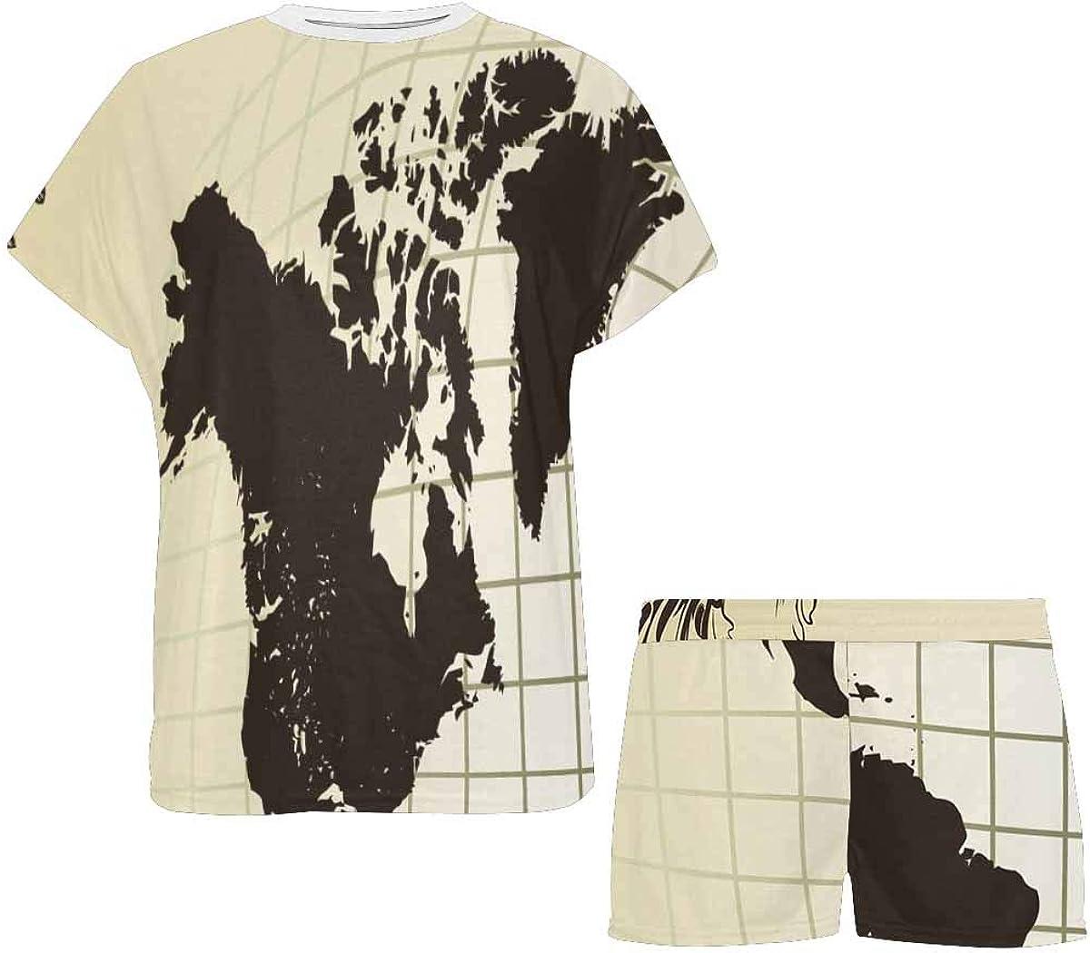 InterestPrint Vintage Old Map of The World Frame Women's Pajama Sets Short Sleeve Shorts - Pajamas for Women