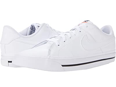 Nike Kids Court Legacy (Big Kid) (White/White/Black) Kid