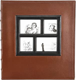 Self Adhesive Stick Photo Album with Magnetic Pages, Large Leather Family Photo Albums with Sticky Page for 3x5 4x6 5x7 8x10 (Brown, 30 Sheets / 60 Pages)