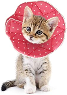 SLSON Cat Recovery Collar Soft Pet Cone Collar Protective for After Surgery Cotton Adjustable Fasteners Collar for Cat and Puppy, Pink