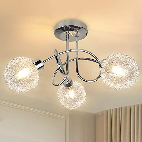 high quality Modern 3-Light new arrival Semi Flush Mount Ceiling Light Fixture, Depuley new arrival Contemporary Globe Ceiling Lamp with Glass Shade, Elegant Chandelier for Bedroom, Kitchen, Hallway, Dining Room Lighting, G9 Base sale