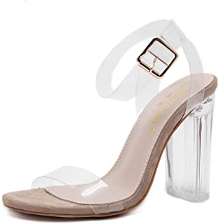 Women's High Heels Summer New Stylish Transparent Ankle Buckle Sandals Novelty Shoes Dress Shoes Wedding Party Evening,Clear,36