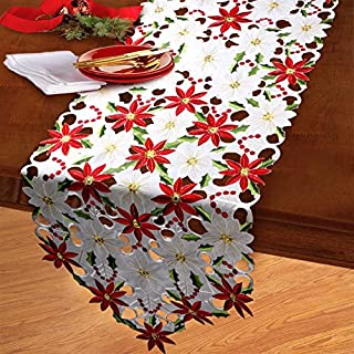 ZAZO White Floral Full Embroidery Table Runner Poinsettia Hand Rendered Cutwork Table Linen for Home Christmas Wedding Par...