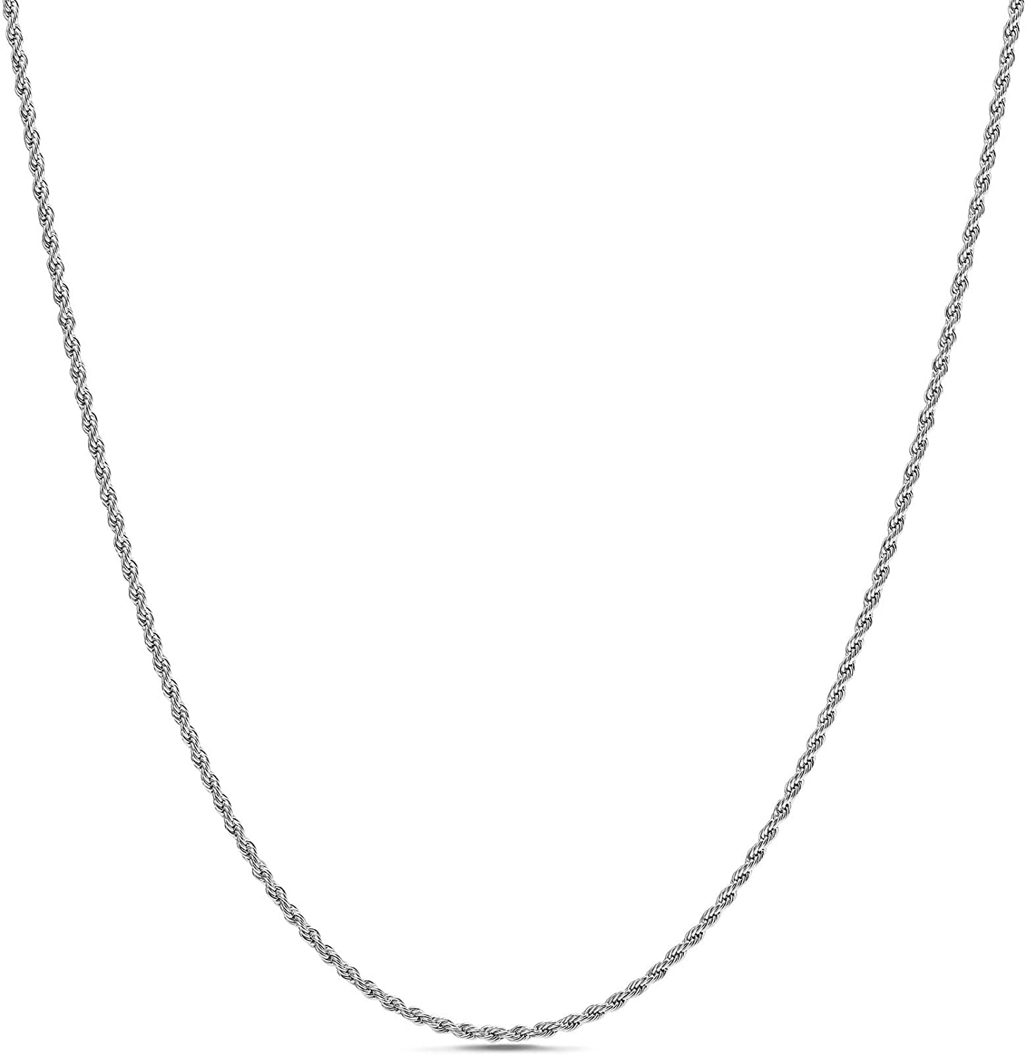 Nautica 2mm 20 Inch Rope Chain Necklace for Men or Women in Rhodium Plated Brass